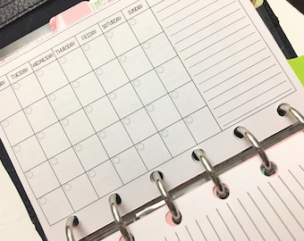 Undated Month On One Page UNPUNCHED for POCKET planners Filofax, Kikki k, & Luis Vuitton