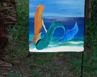 Mermaid Garden Flag from art