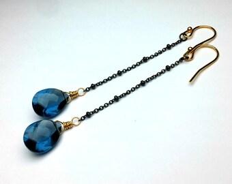 Blue Quartz Earrings 14K Gold Filled Earrings Crystal Earrings Gemstone Earrings Modern Earrings Long Dangle Earrings Unique Womens Earrings