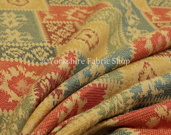 Kilim Patchwork Chenille Yellow Green Orange Blue Upholstery Furniture Fabric - Sold By The 1 Metre Length Fabric