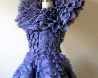 Effie Trinket inspired ruffled purple dress- made to order