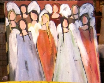 Gathering of Angels Original Painting by Cynthia Fortner