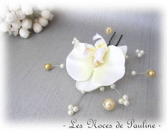 Peak bun ivory and yellow Orchid, wedding jewelry v4