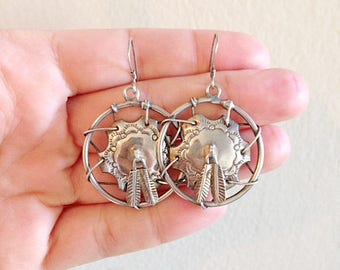 Silver Southwest Dreamcatcher Earrings