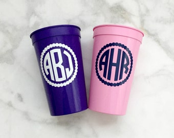 Monogrammed Cups, Bachelorette Party Cups, Bridesmaids Cups, Circle Monogram Cups, Personalized Stadium Cups