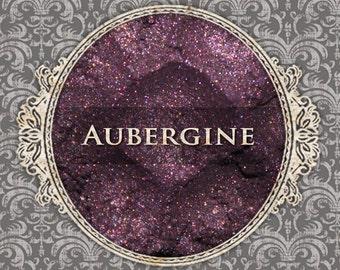 AUBERGINE Shimmer Eyeshadow: Samples or Jars, Deep Purple Pink, Loose Powder Eyeshadow, VEGAN Cosmetics, Ships Out in 5-8 Days