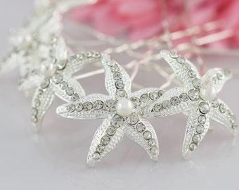 Starfish Hair Pins, Wedding Hair Pins, Wedding Hair Pins, Swarovski Pearls, Rhinestone Hair Pins, Crystal Hair Pin,  Bridal Hair Pins,