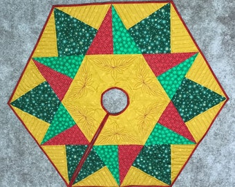 Christmas Tree Skirt Embroidered Quilted ON SALE