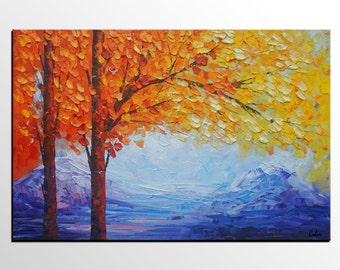 Landscape Painting, Autumn Tree Painting, Large Painting, Large Art, Abstract Art, Canvas Art, Oil Painting, Wall Art, Abstract Painting