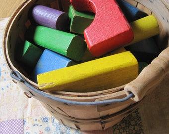 Lot of 30 Plus Vintage Toy Blocks in a Sweet Basket