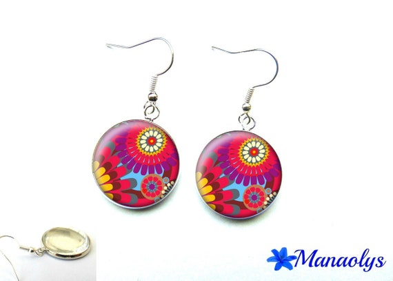 Floral earrings multicolor 2771 glass cabochons