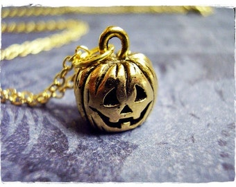 Gold Jack O' Lantern Pumpkin Necklace - Antique Gold Pewter Jack O'Lantern Charm on a Delicate Gold Plated Cable Chain or Charm Only