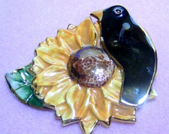 Ceramic Sunflower and Crow Brooch Pin - Hand Crafted