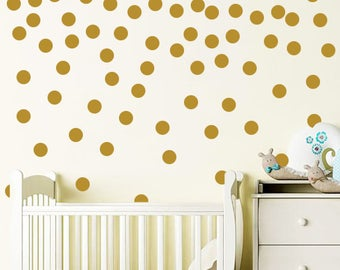 Polka Dot Decal Set. Nursery Wall Decal. Gold Polka Dot Wall Decal Stickers. Gold Dot Decals Wall Vinyl Sticker Nursery Baby Room Decor F14