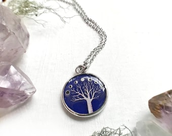 Silver Moonphase Necklace, Purple Necklace, Purple pendant, Moon Phase Jewelry, Tree Art Pendant