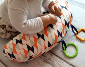 Organic Tummy Time Pillow, Geometric Triangles