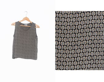 Vintage patterned tank top | Patterns Camisole | Black summer top | Small vintage tank top for Women