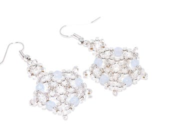 Snowflake Ice Blue Dangle Christmas Winter Earrings, Dangle & Drop, Party Jewellery