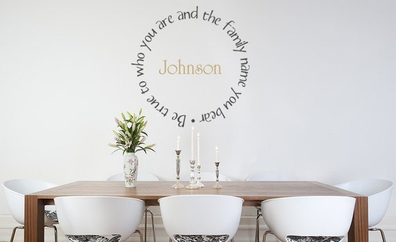 Family name decal, Monogram Decal, Name Decal, True to Your Family Name, Monogram wall decal