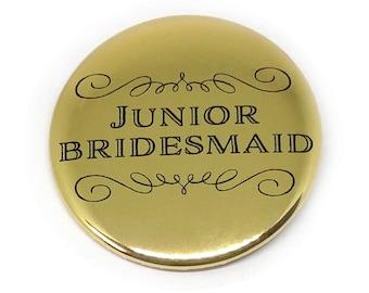 Junior Brides Maid Button Bridal Party Buttons Bride Maid of Honour Bachelorette Party Bridal Shower Metallic Gold