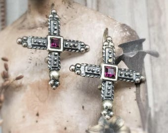 Amethyst Sterling Silver Earrings Granulation Etruscan Inspired