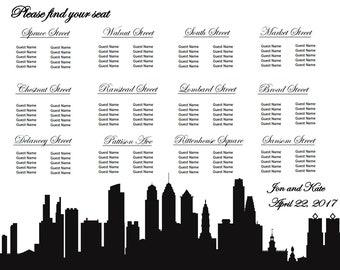 Philadelphia Themed Wedding Seating Chart