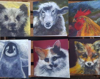 Set of 6 needle felted cards