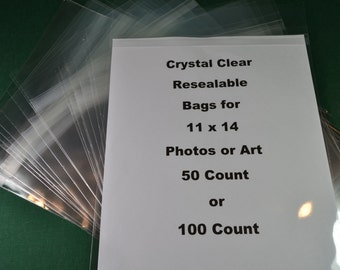 Clear Bags Resealable Bags Crystal Clear for 11 x 14 Photos/Art
