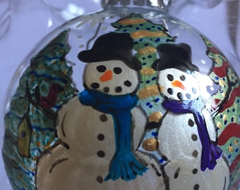 Snowmen hand painted glass Christmas ornament  snowman tree snowflakes