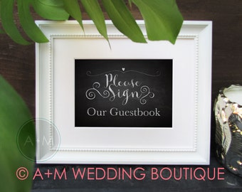 Wedding signs 3 CHALKBOARD Instant Printable Signs Photo Booth, Gift and Card Table, Guestbook 5x7 White on Black
