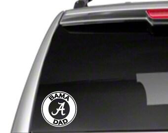 "Bama Dad 5.5"" Car Vinyl Sticker Decal Alabama roll tide crimson father parent ua *B4*"