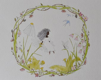Original Watercolor Illustration | Thumbelina and the Butterfly