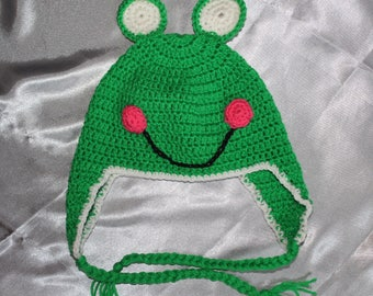 a hat, children, fantasy animal, frog, green, crocheted hand