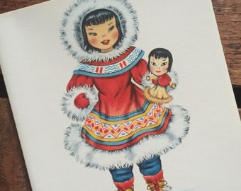 Vintage Dolls of Many Lands Card - Eskimo Doll - Blank Inside - Unused
