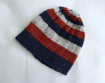 Hand knit boy's hat | striped orange, navy blue, cream, wool blend childs hat | boy about 8 to teenage, knit Winter hat, child's beanie hat