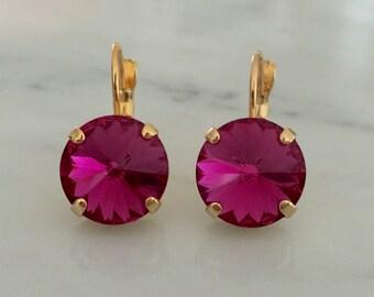 Fuchsia Swarovski Crystal Earrings, Yellow Gold
