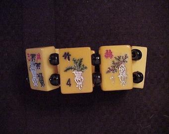 signed jan carlin designer mah jong bracelet flower garden party vintage bakelite