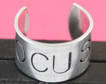 SALE - Focus Ring - Hand Stamped Adjustable Aluminum Ring - Handstamped Ring - Photographer Gift