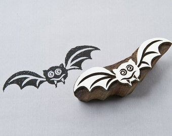 Bat, hand crafted wood block stamp