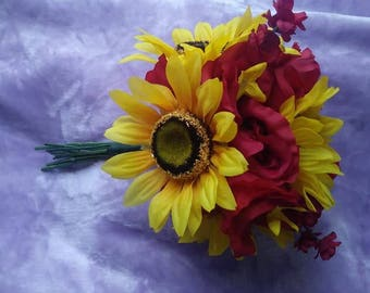 Sunflower and burgundy rose bouquet