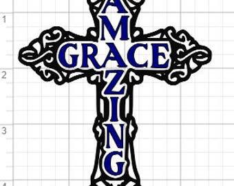 Amazing Grace Cross Design SVG PDF EPS Dxf & Studio 3 Cut Files