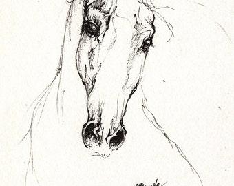 the horse original pen drawing