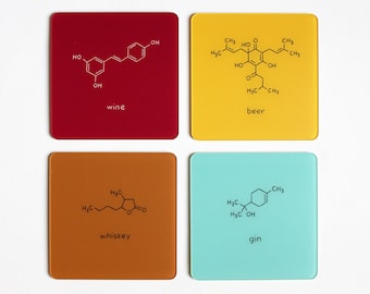 Chemistry Mini Bar Coasters Set of 4 - Beer Wine Whiskey Gin - Nerdy Alcoholic drinks Science Nerd Geek Gift Bartender Housewarming Hostess
