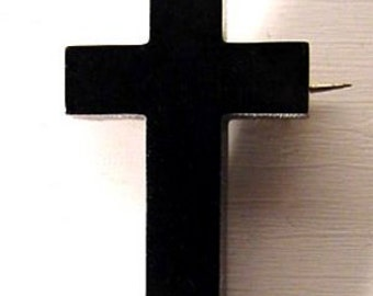 Carved Black Jet Crucifix Mourning Brooch, Victorian Antique Cross