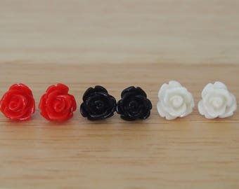 Little trio of classic coloured rose earrings in black, white and red, hypoallergenic surgical steel posts