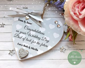Wedding Sign Congratulations Plaque Personalised Keepsake Heart