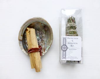Protection + Intention Smudge Kit// Cedar// Rose//White Sage Smudge Stick//Selenite crystal wand // Palo Santo Holy Wood//