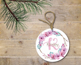 Personalized Ornament, Girl, Toddler, Baby's First Christmas Ornament, Wreath, Flowers, Christmas Ornament, Baby Shower Gift, New Baby