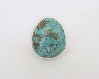 Vintage Sterling Silver Turquoise Bold Ring Size 6.25