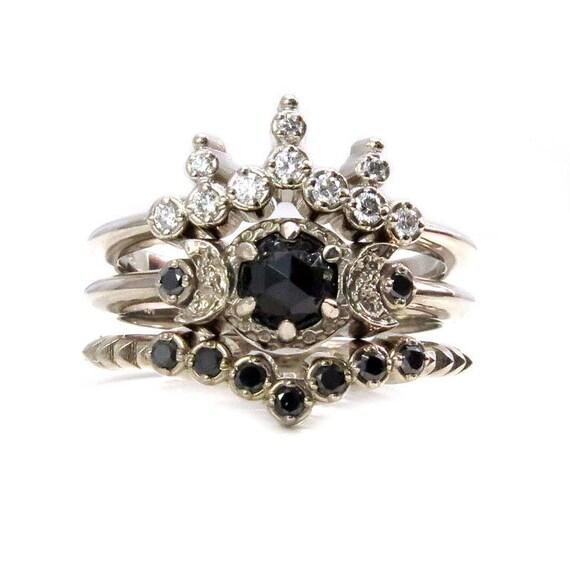 Night Queen Engagement Ring Set - Gothic Boho Black and White Diamonds Stacking Ring Set